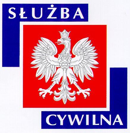 Obraz przedstawiający logotyp Służby Cywilnej, orła białego na czerwonym tle z napisem Służba Cywilna na niebieskim tle.