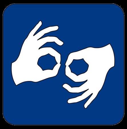 Logotyp przedstawiający białe dłonie ułożone w symbol Języka Migowego na niebieskim tle